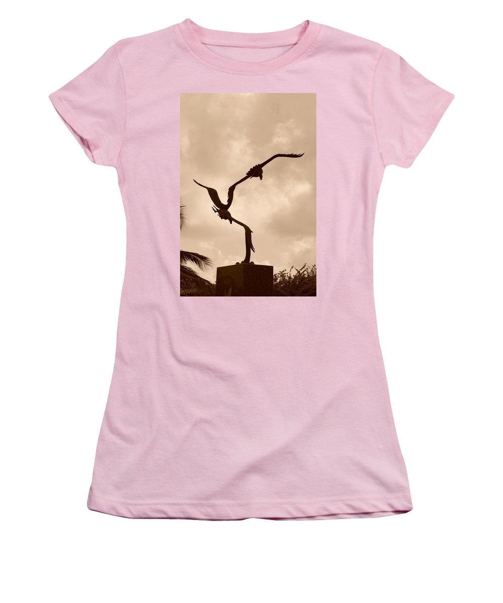 Sepia Women's T-Shirt (Athletic Fit) featuring the photograph Dancing Birds by Rob Hans