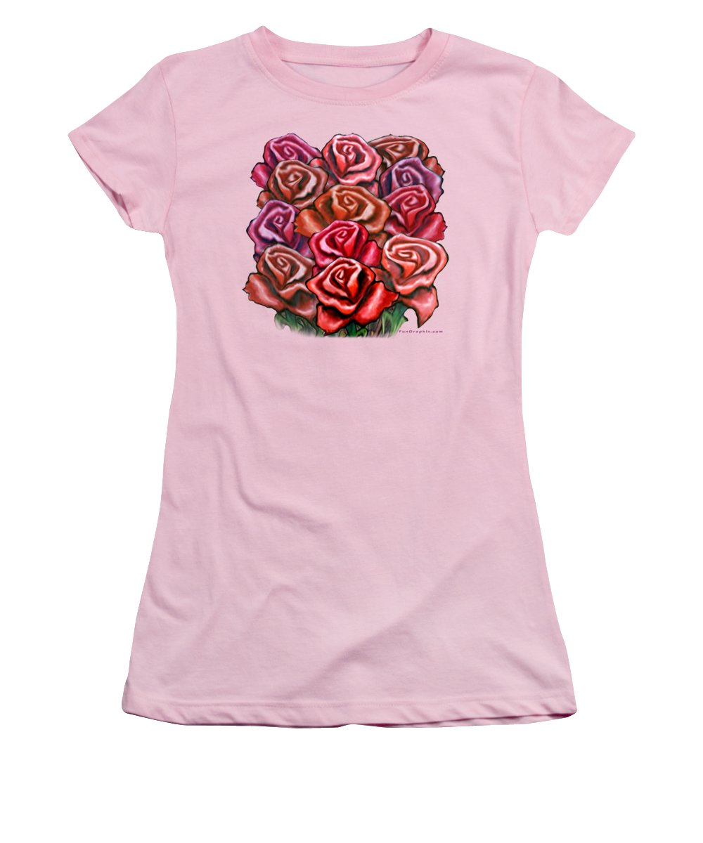 Rose Women's T-Shirt (Athletic Fit) featuring the painting Dozen Roses by Kevin Middleton