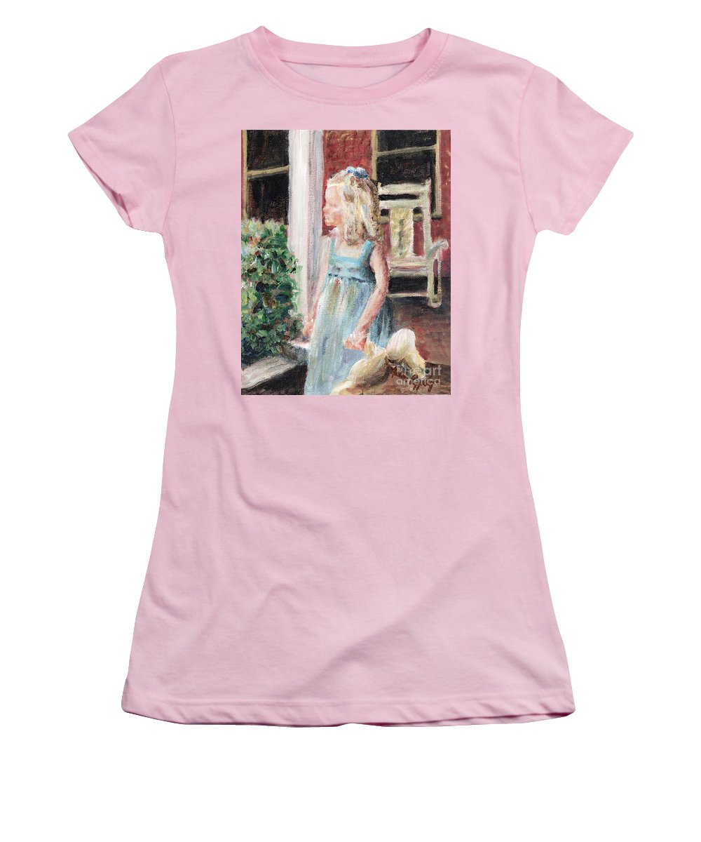 Girl Women's T-Shirt (Athletic Fit) featuring the painting Elizabeth Anne by Nadine Rippelmeyer