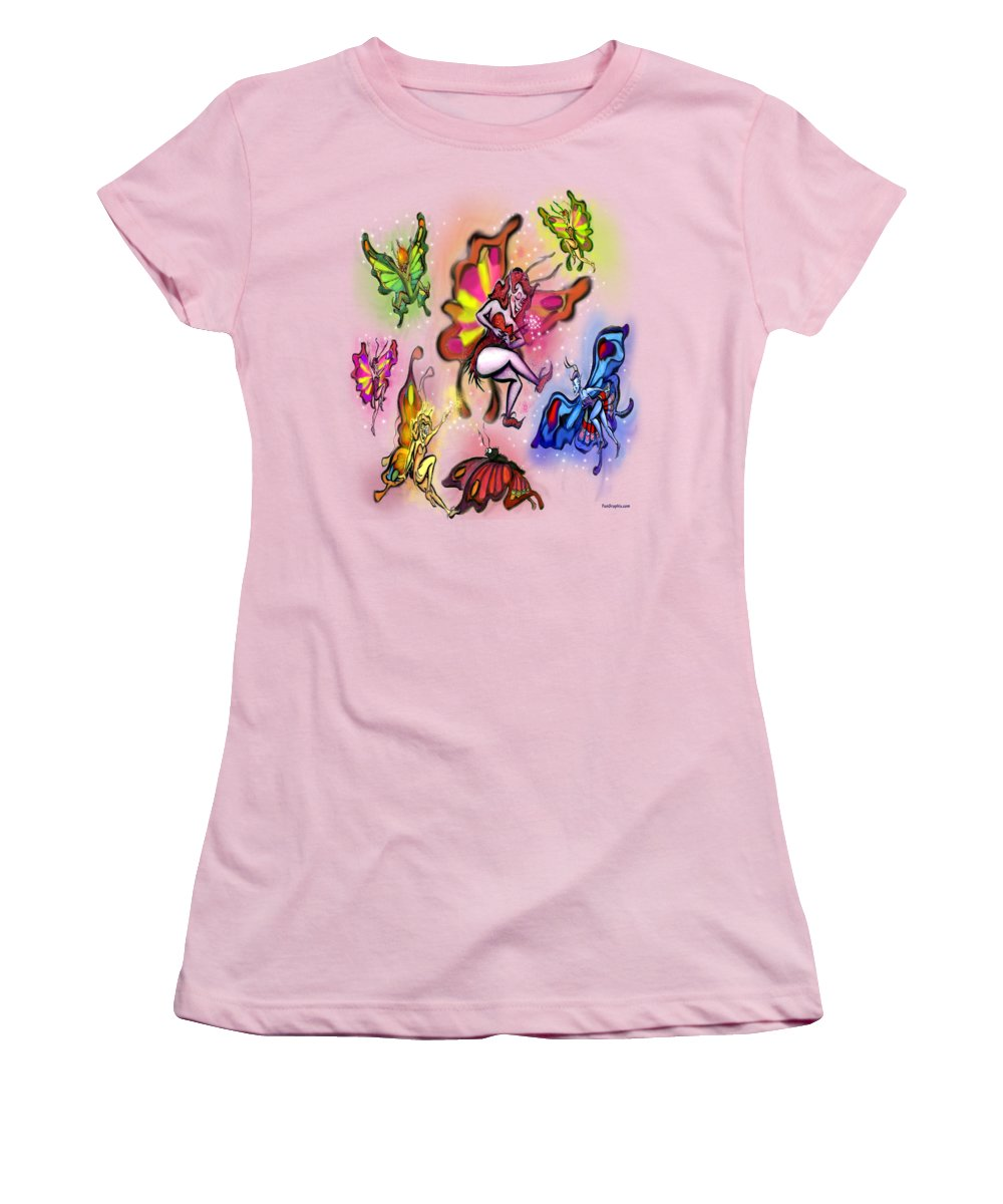 Faeries Women's T-Shirt (Athletic Fit) featuring the painting Faeries by Kevin Middleton