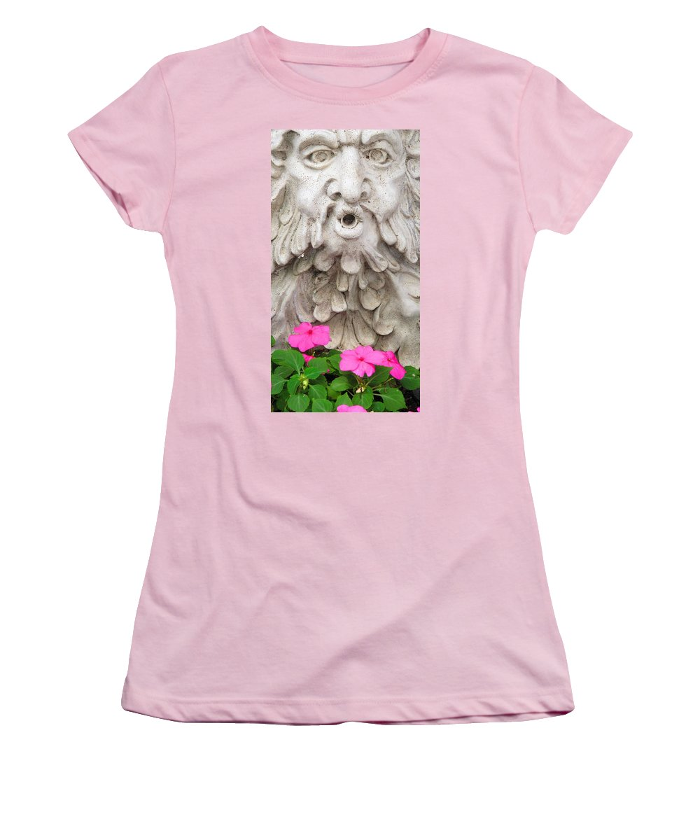 Statue Women's T-Shirt (Athletic Fit) featuring the photograph Flower Blower by Ian MacDonald