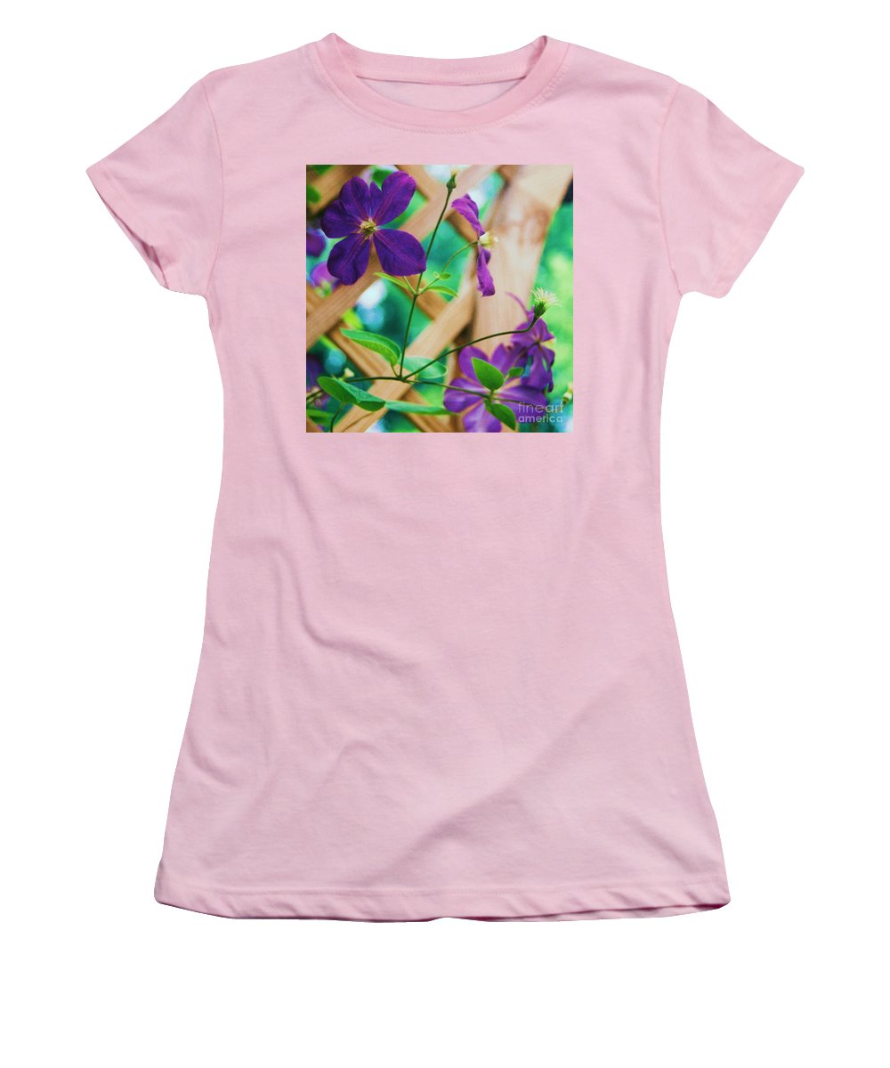 Floral Women's T-Shirt (Athletic Fit) featuring the painting Flowers Purple by Eric Schiabor