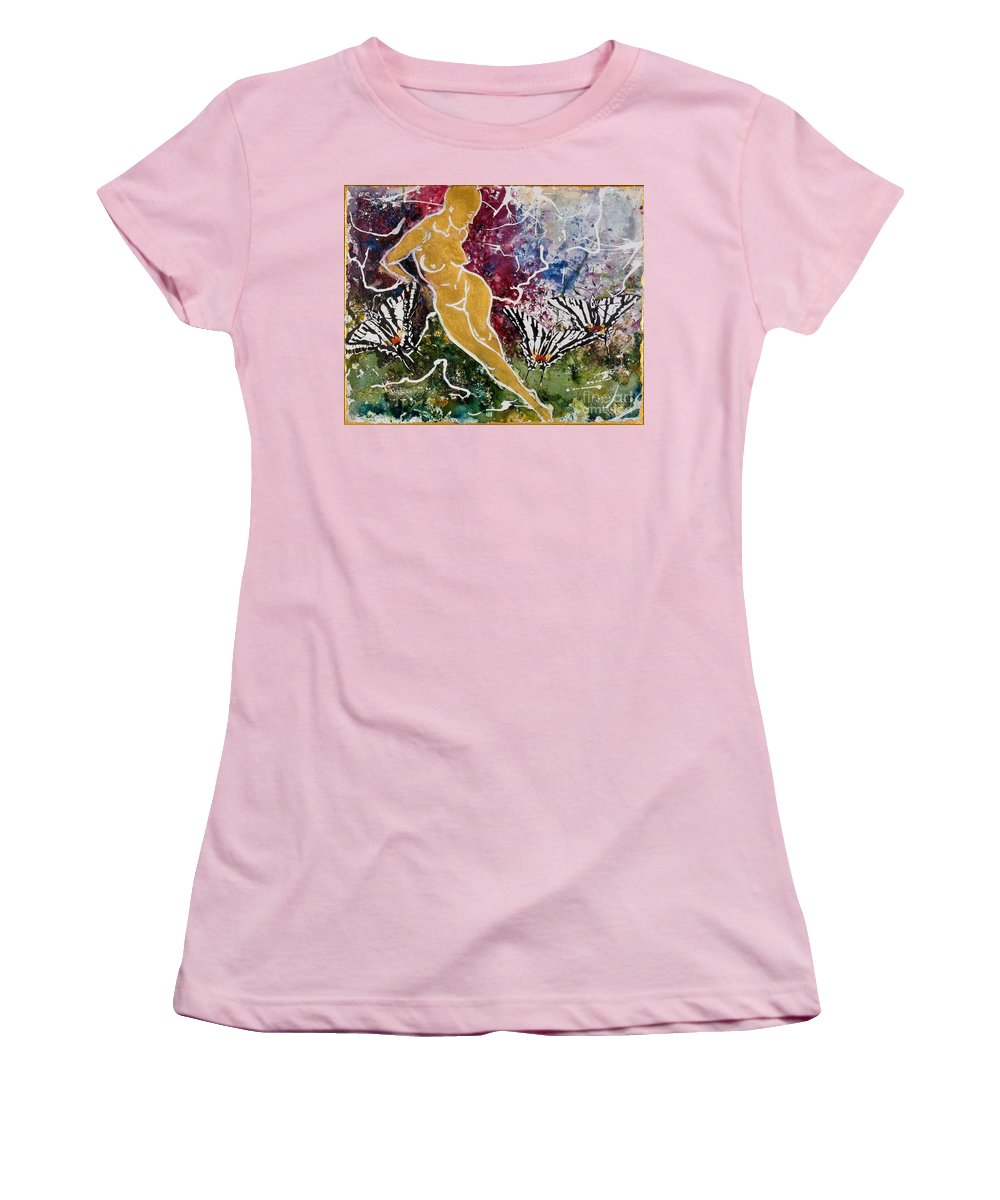 Nude Women's T-Shirt (Athletic Fit) featuring the painting Freedom by Elisabeta Hermann