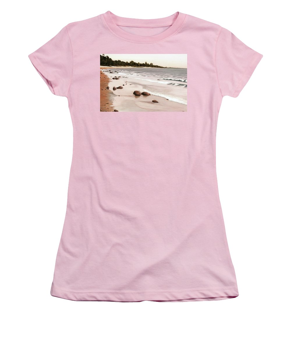 Landscapes Women's T-Shirt (Athletic Fit) featuring the painting Georgian Bay Beach by Kenneth M Kirsch
