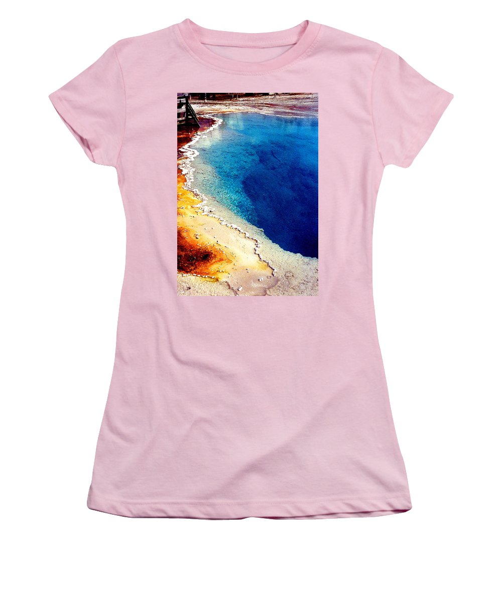 Geyser Women's T-Shirt (Athletic Fit) featuring the photograph Geyser Basin by Nancy Mueller