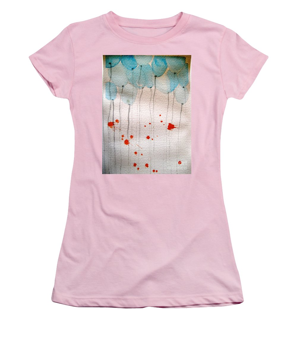 Balloon Celebrate Fun Happy Play Women's T-Shirt (Athletic Fit) featuring the painting Happy Birthday Katherine by Patricia Caldwell
