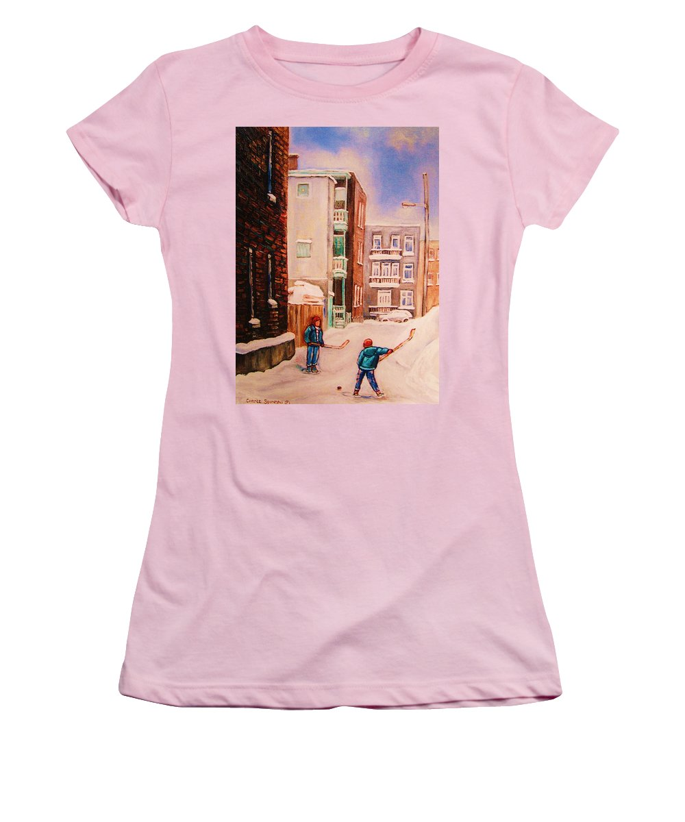 Hockey Women's T-Shirt (Athletic Fit) featuring the painting Hockey Practice by Carole Spandau