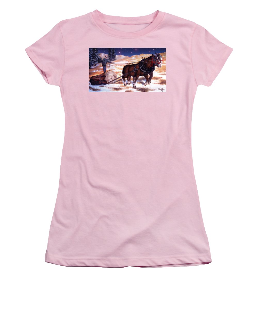 Horse Women's T-Shirt (Athletic Fit) featuring the painting Horses Pulling Log by Curtiss Shaffer