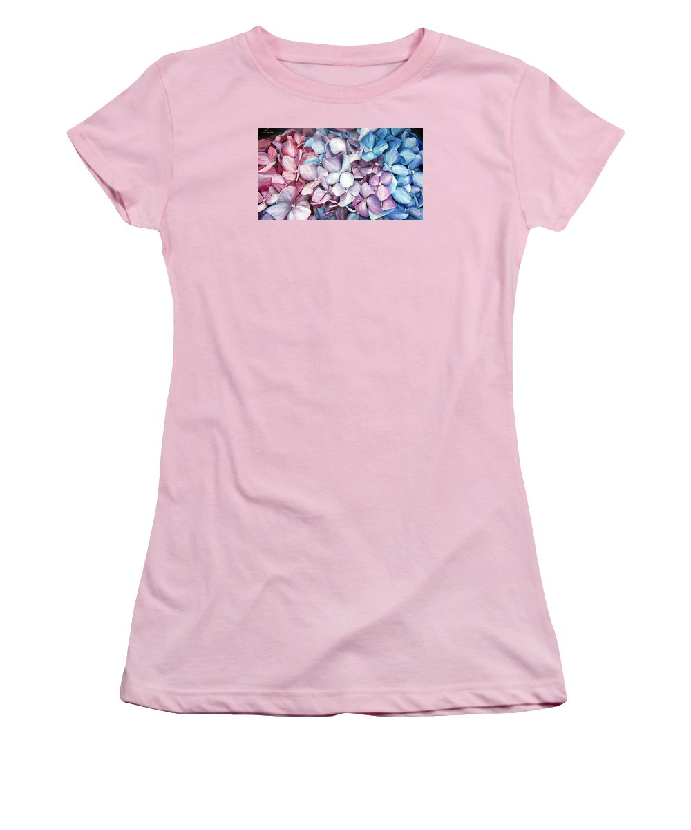 Flowers Nature Blue Violet Macro Women's T-Shirt (Athletic Fit) featuring the painting Hortensias by Natalia Tejera