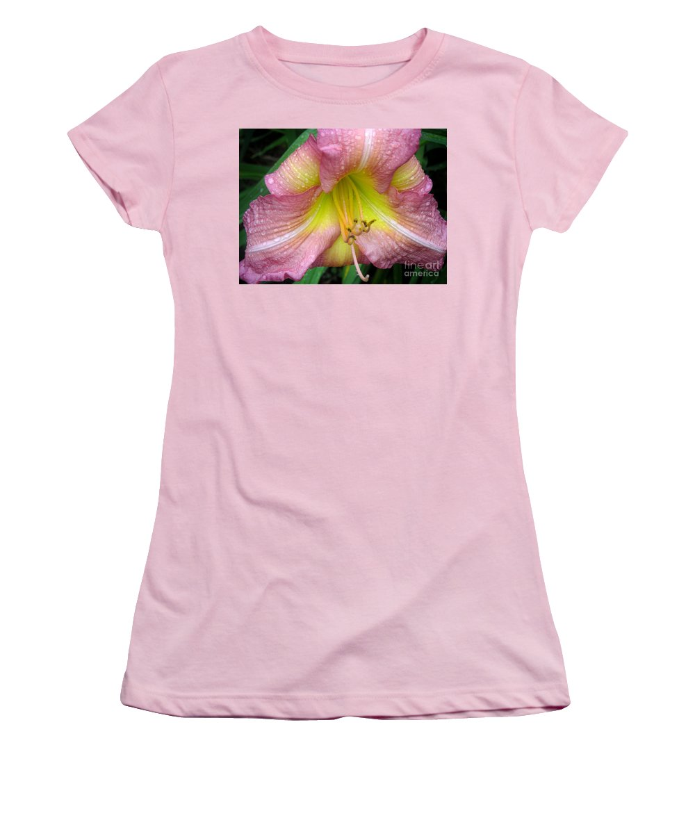 Nature Women's T-Shirt (Athletic Fit) featuring the photograph Jacqueline's Garden - Lily Glistening Thrice by Lucyna A M Green