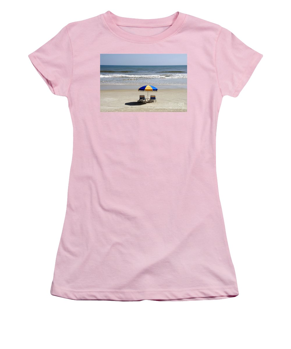 Beach Women's T-Shirt (Athletic Fit) featuring the photograph Just The Two Of Us by David Lee Thompson