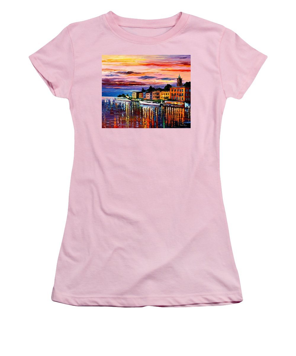 Cityscape Women's T-Shirt (Athletic Fit) featuring the painting Lake Como - Bellagio by Leonid Afremov