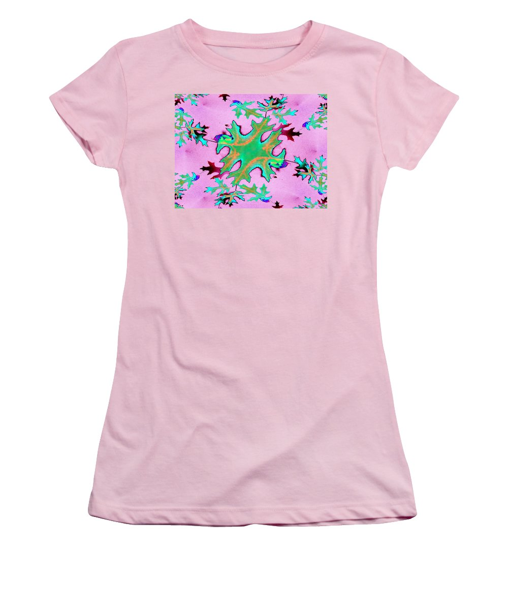 Leaf Women's T-Shirt (Athletic Fit) featuring the photograph Leaves In Fractal by Tim Allen
