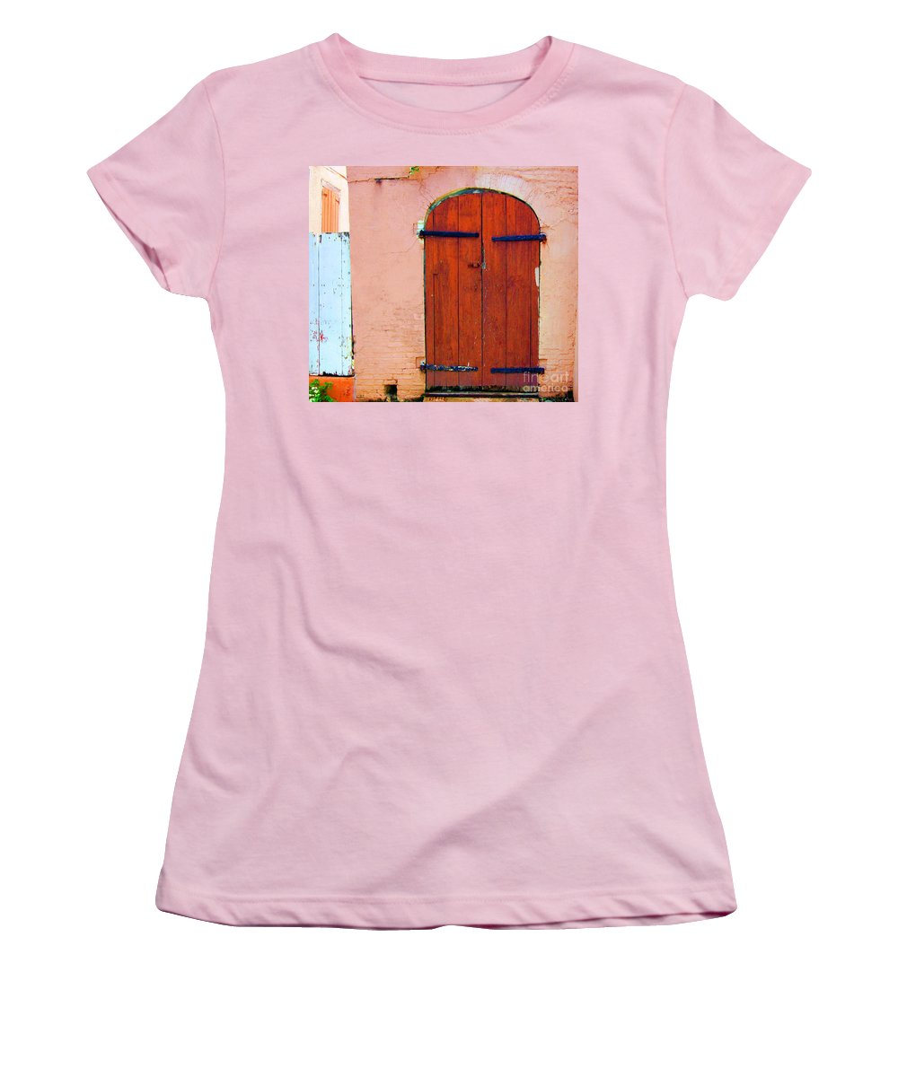 Door Women's T-Shirt (Athletic Fit) featuring the photograph Little Pink House by Debbi Granruth