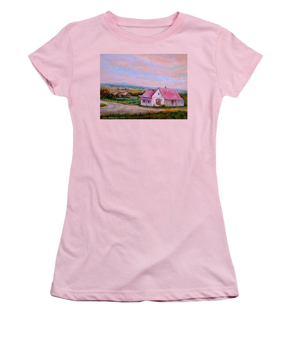 Little Pink Houses Women's T-Shirt (Athletic Fit) featuring the painting Little Pink Houses by Carole Spandau