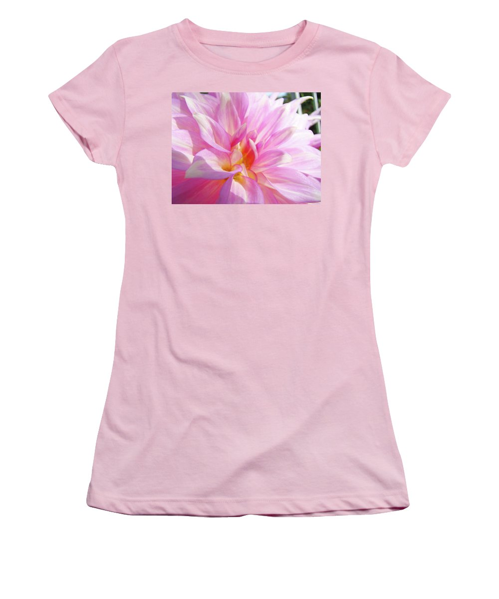 Dahlia Women's T-Shirt (Athletic Fit) featuring the photograph Master Gardeners Pink Dahlias Art Prints Baslee Troutman by Baslee Troutman