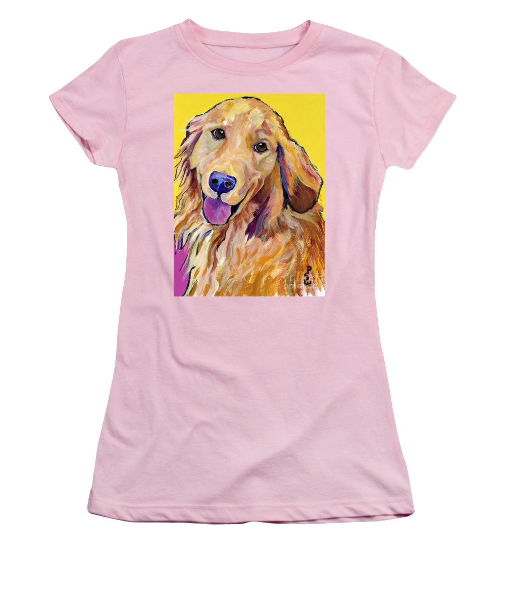 Acrylic Paintings Women's T-Shirt (Athletic Fit) featuring the painting Molly by Pat Saunders-White