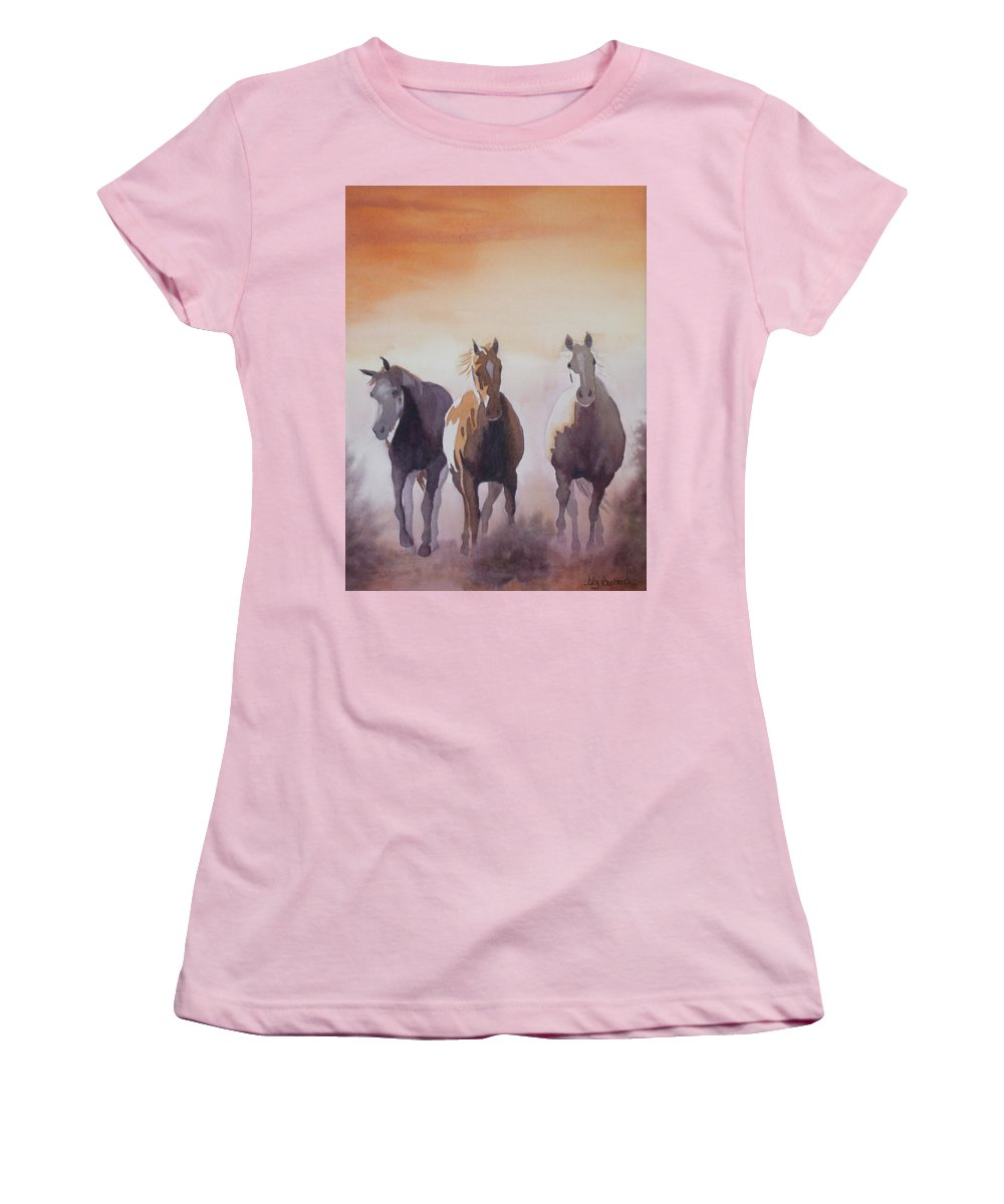 Horse Women's T-Shirt (Athletic Fit) featuring the painting Mustangs Out Of The Fire by Ally Benbrook