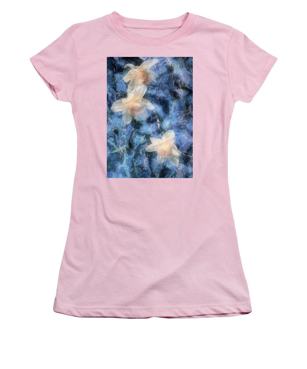 Daffodils Women's T-Shirt (Athletic Fit) featuring the painting Nighttime Narcissus by RC DeWinter