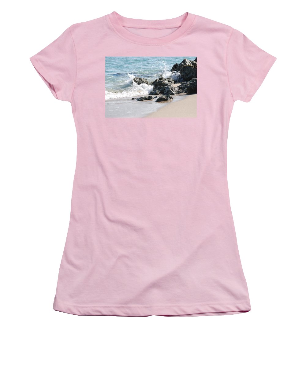 Ocean Women's T-Shirt (Athletic Fit) featuring the photograph Ocean Drive Rocks by Rob Hans