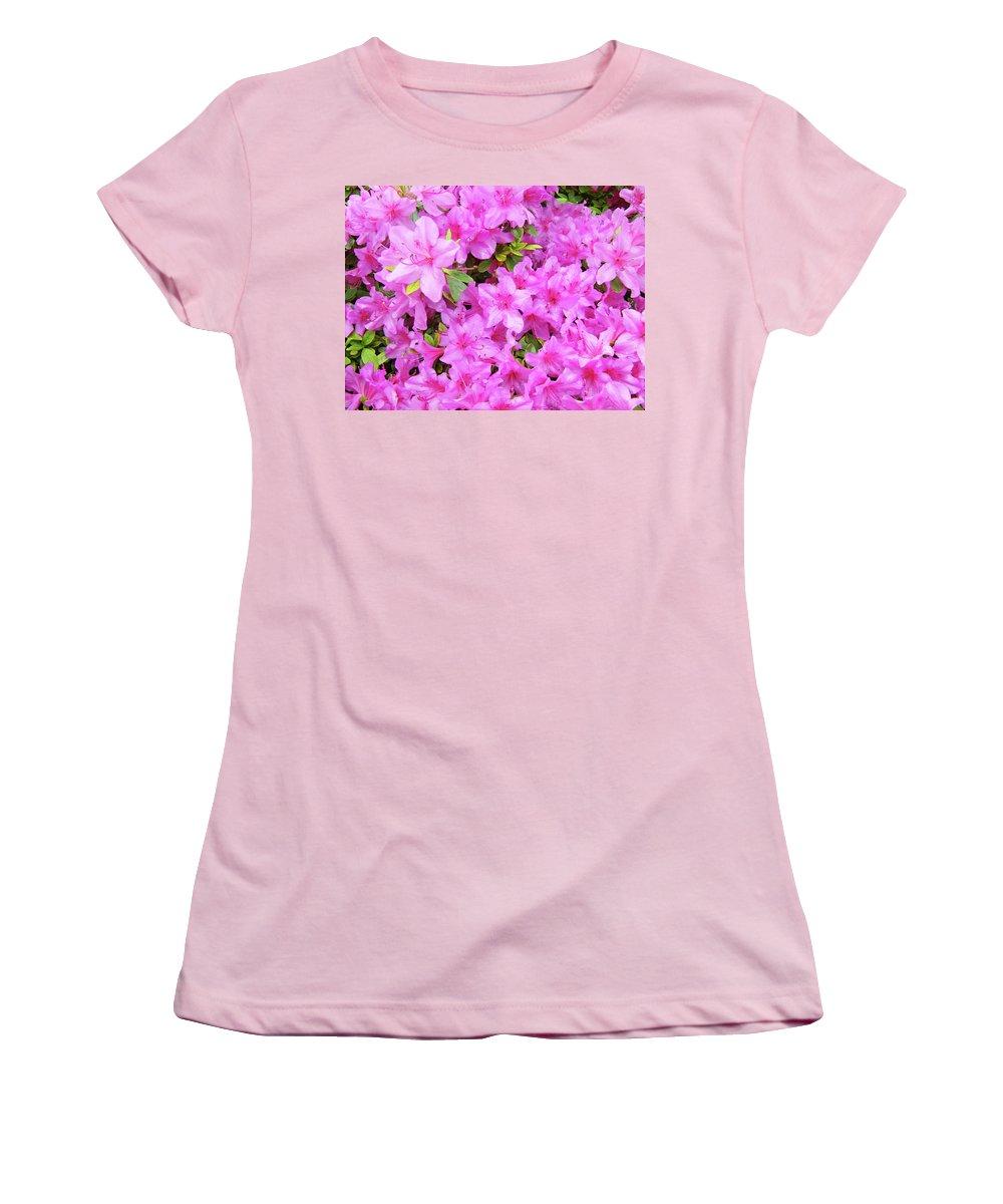 Office Women's T-Shirt (Athletic Fit) featuring the photograph Office Art Azaleas Flower Art Prints 1 Azalea Flowers Giclee Baslee Troutman by Baslee Troutman