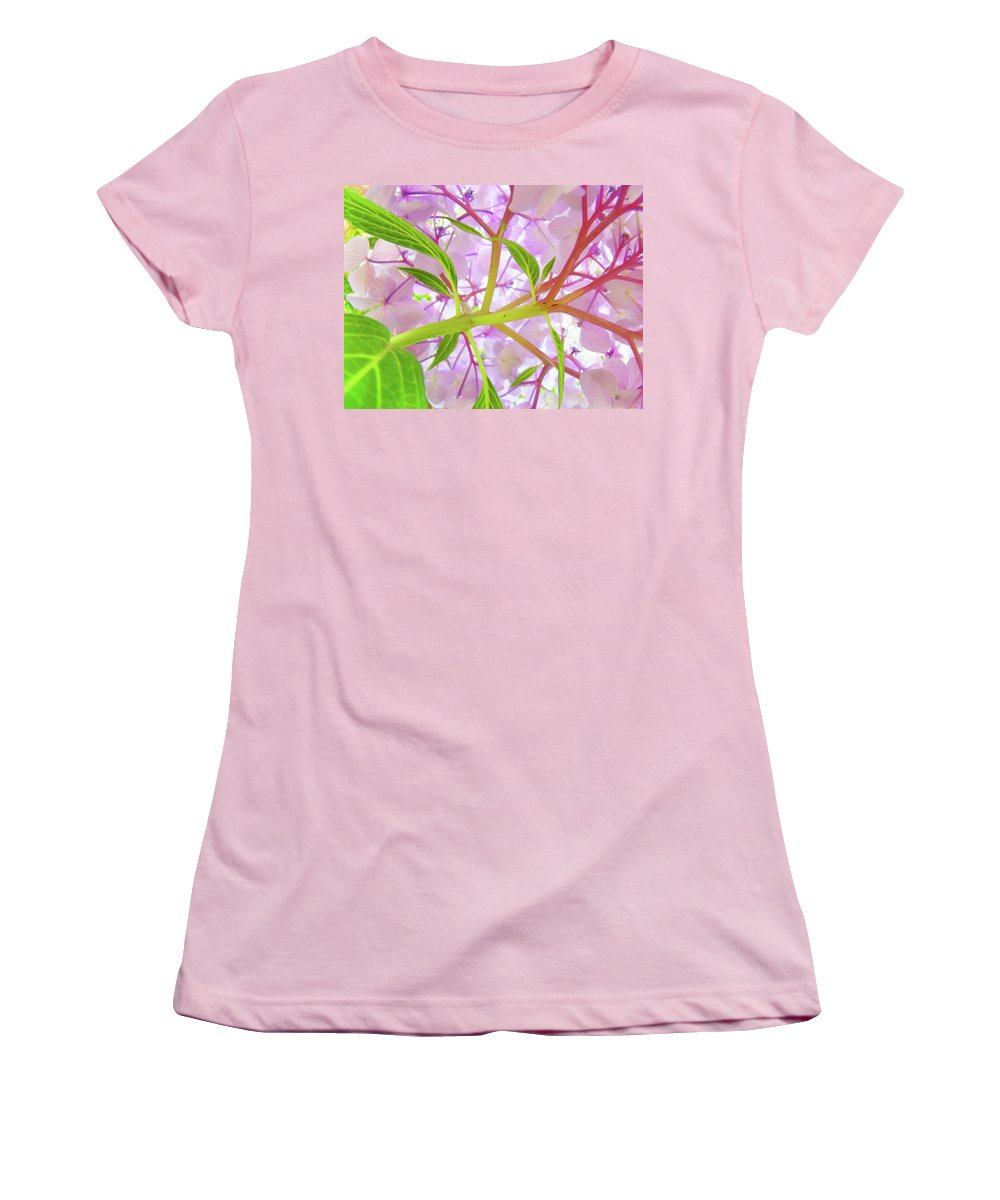 Hydrangea Women's T-Shirt (Athletic Fit) featuring the photograph Office Art Botanical Hydrangea Flowers Giclee Art Prints Baslee Troutman by Baslee Troutman