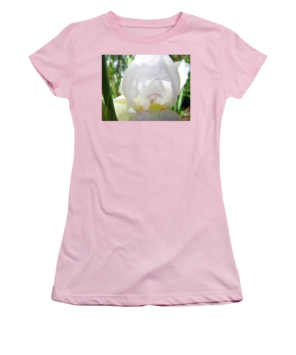 Iris Women's T-Shirt (Athletic Fit) featuring the photograph Office Art Irises White Iris Flower Floral Giclee Prints Baslee Troutman by Baslee Troutman