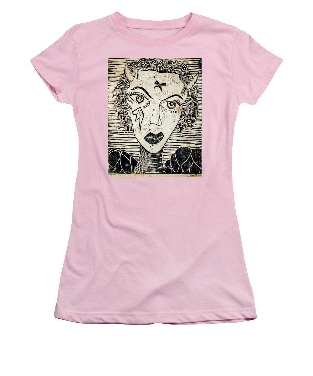 Block Print Women's T-Shirt (Athletic Fit) featuring the print Original Devil Block Print by Thomas Valentine