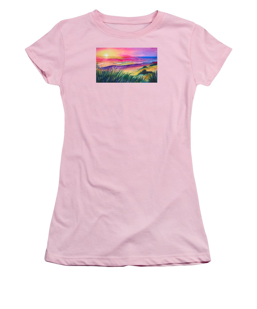 Pacific Women's T-Shirt (Athletic Fit) featuring the painting Pacific Evening by Karen Stark
