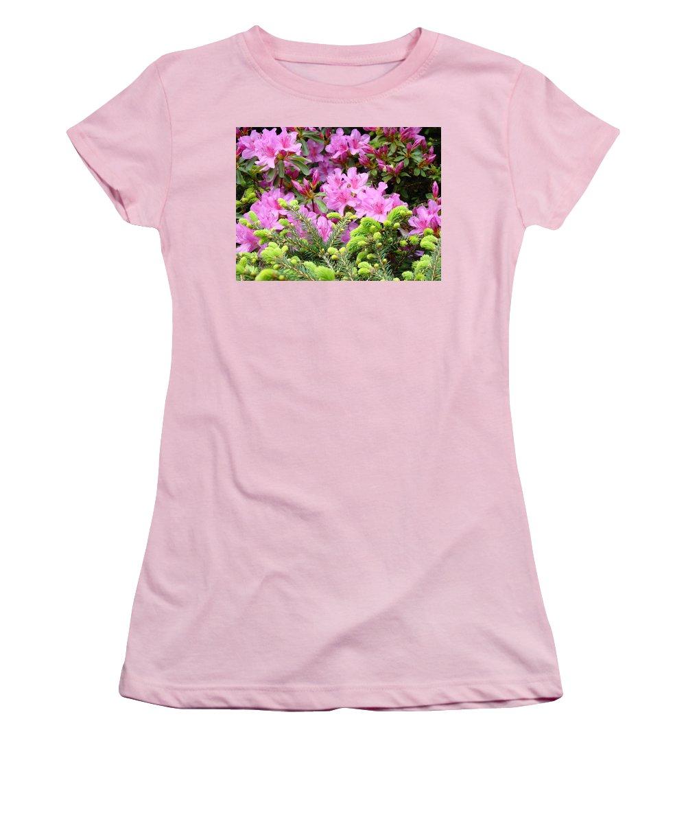 �azaleas Artwork� Women's T-Shirt (Athletic Fit) featuring the photograph Pine Conifer Pink Azaleas 30 Summer Azalea Flowers Giclee Art Prints Baslee Troutman by Baslee Troutman