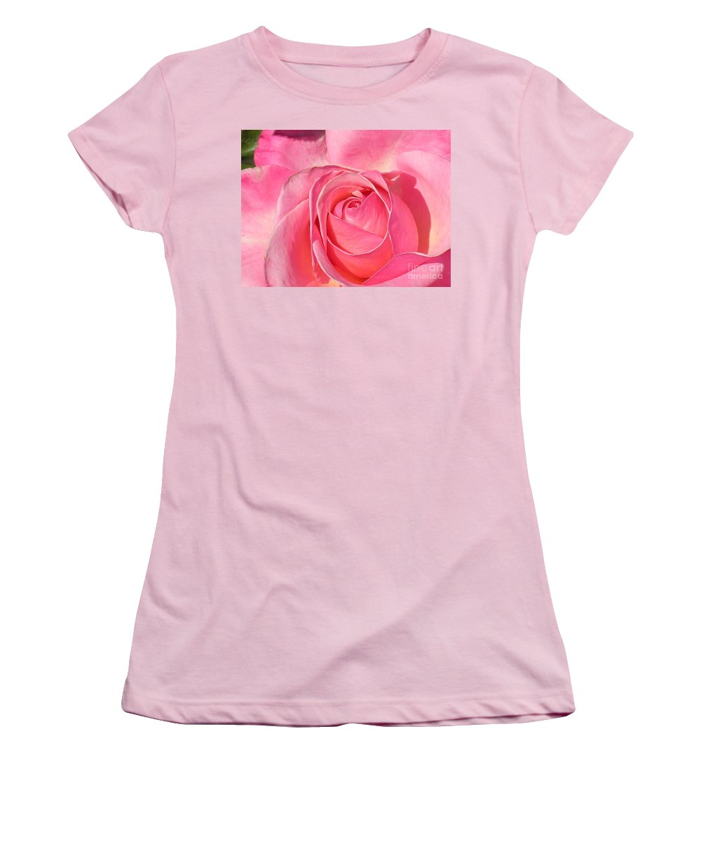Canvas Print Women's T-Shirt (Athletic Fit) featuring the photograph Pink Rose by Diane Greco-Lesser