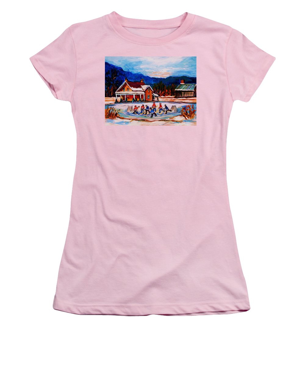 Hockey Women's T-Shirt (Athletic Fit) featuring the painting Pond Hockey by Carole Spandau