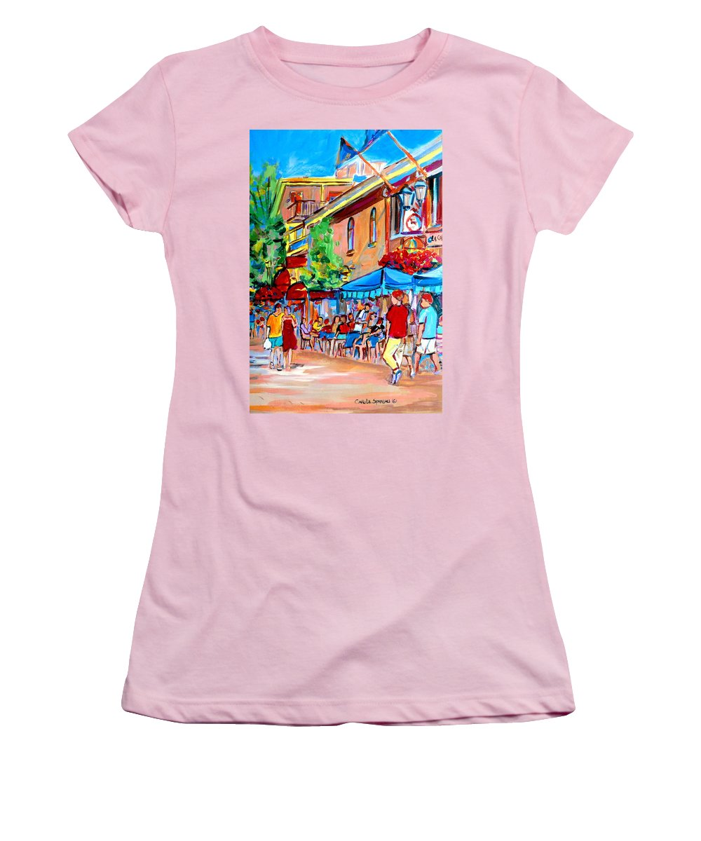 Cafes Women's T-Shirt (Athletic Fit) featuring the painting Prince Arthur Street Summer by Carole Spandau