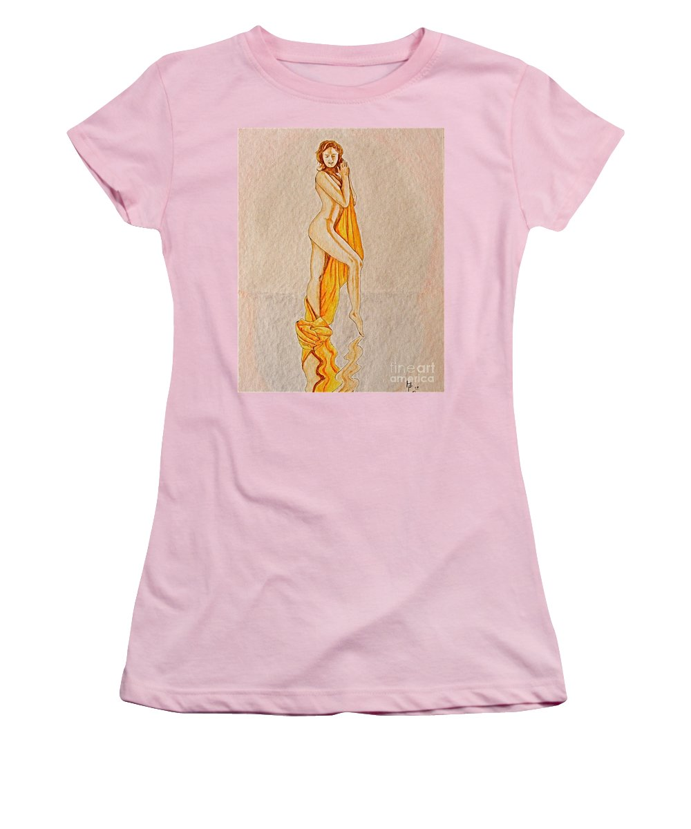 Nude Women's T-Shirt (Athletic Fit) featuring the painting Reflection by Herschel Fall