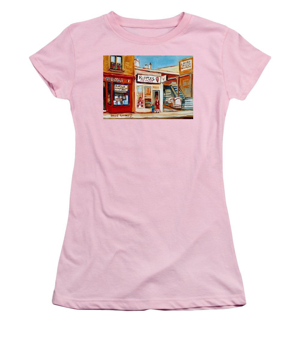 Ripples Icecream Women's T-Shirt (Athletic Fit) featuring the painting Ripples Icecream by Carole Spandau