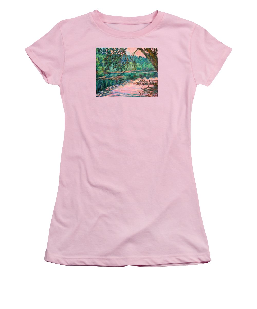 Riverview Park Women's T-Shirt (Athletic Fit) featuring the painting Riverview At Dusk by Kendall Kessler