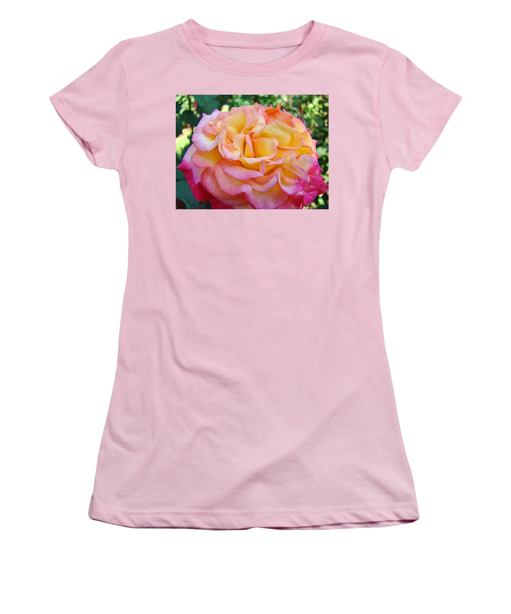 Rose Women's T-Shirt (Athletic Fit) featuring the photograph Rose Pink Yellow Rose Flower 2 Rose Garden Giclee Prints Baslee Troutman by Baslee Troutman