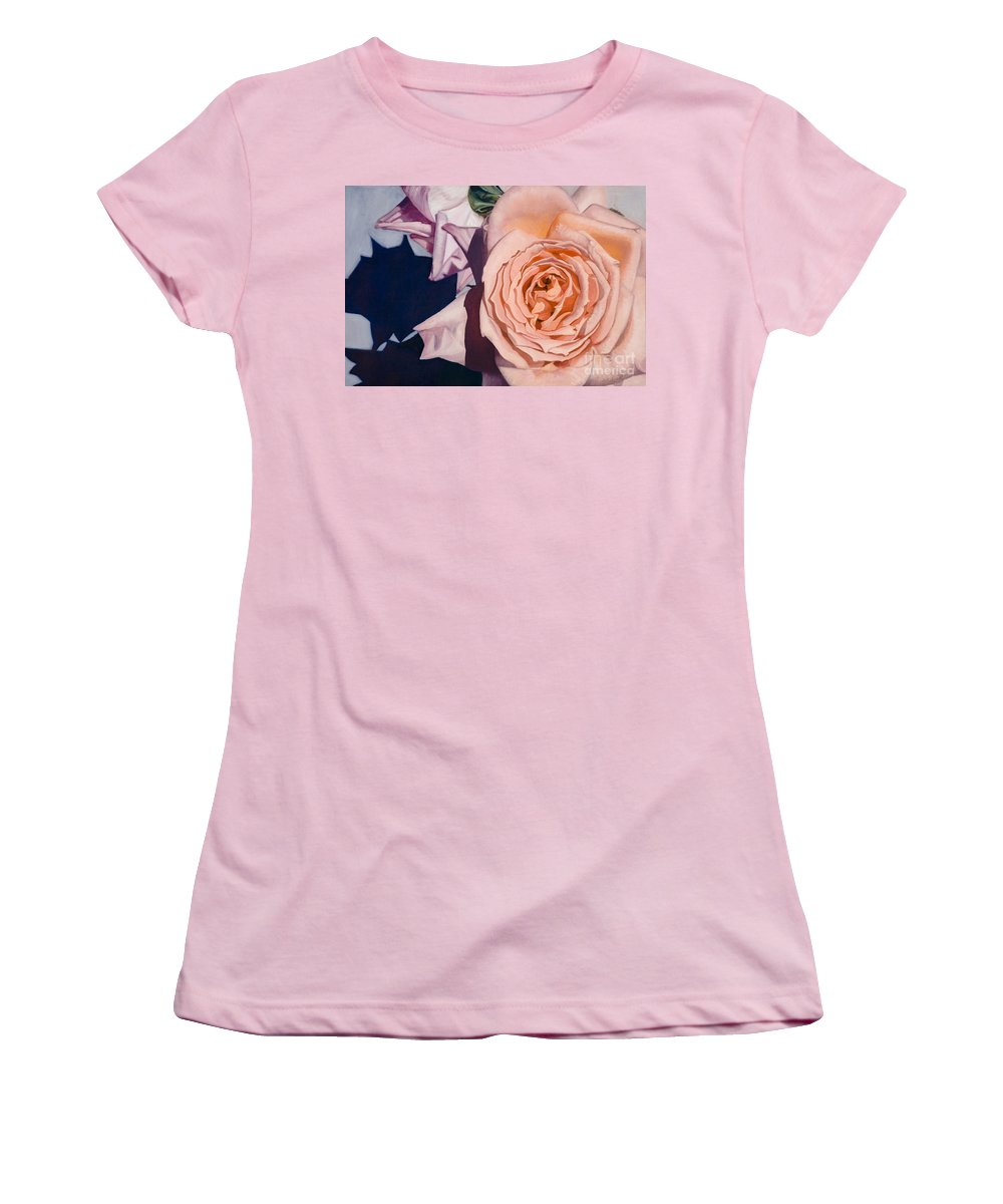 Roses Women's T-Shirt (Athletic Fit) featuring the painting Rose Splendour by Kerryn Madsen-Pietsch