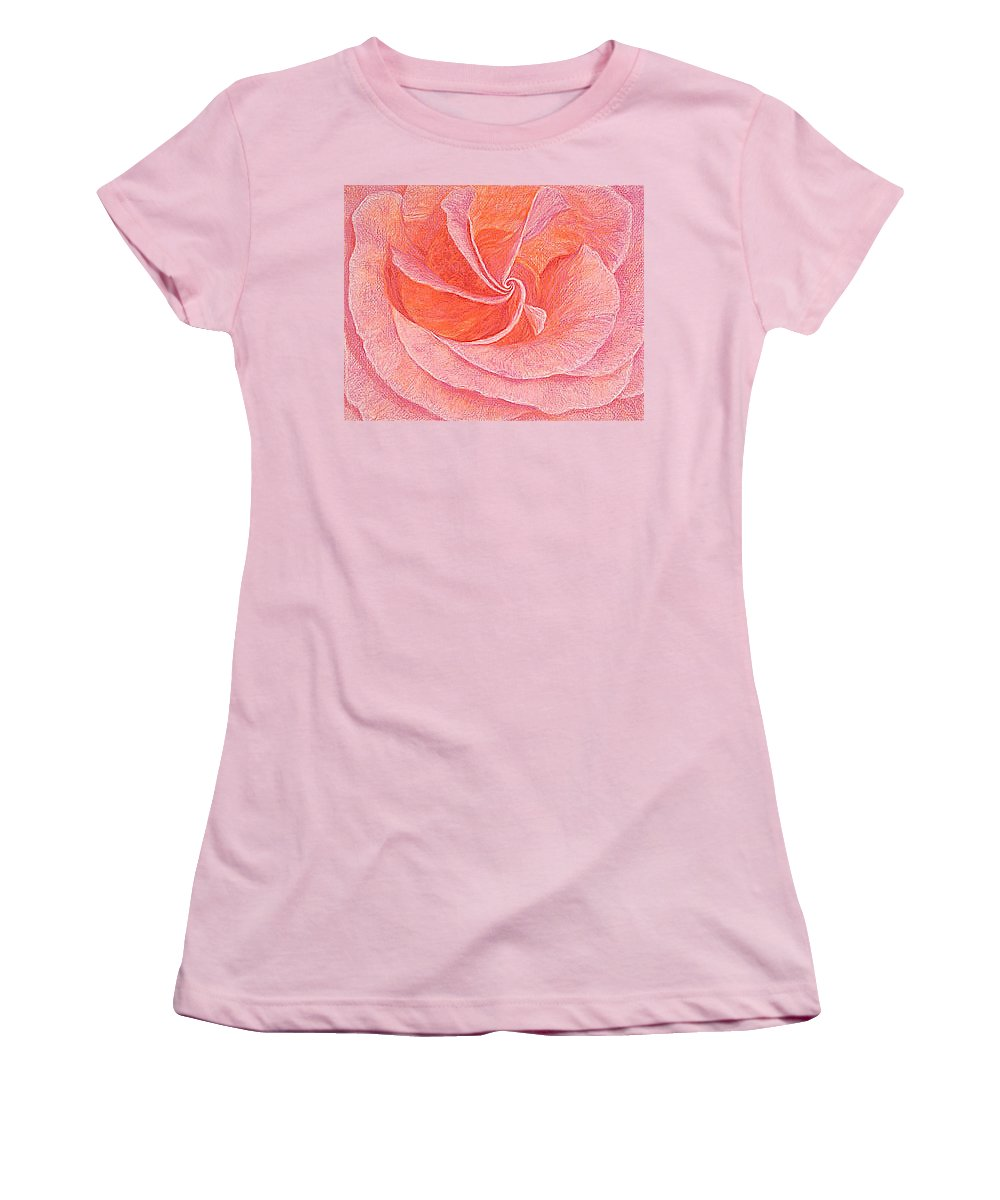 Art Print Prints Fine Giclee Canvas Framed Unframed Rose Pink Roses Garden Floral Flower Flowers Women's T-Shirt (Athletic Fit) featuring the drawing Rose Sprial Pink Fine Art Print Giclee Garden Flower Floral Botanical Love Romance by Baslee Troutman