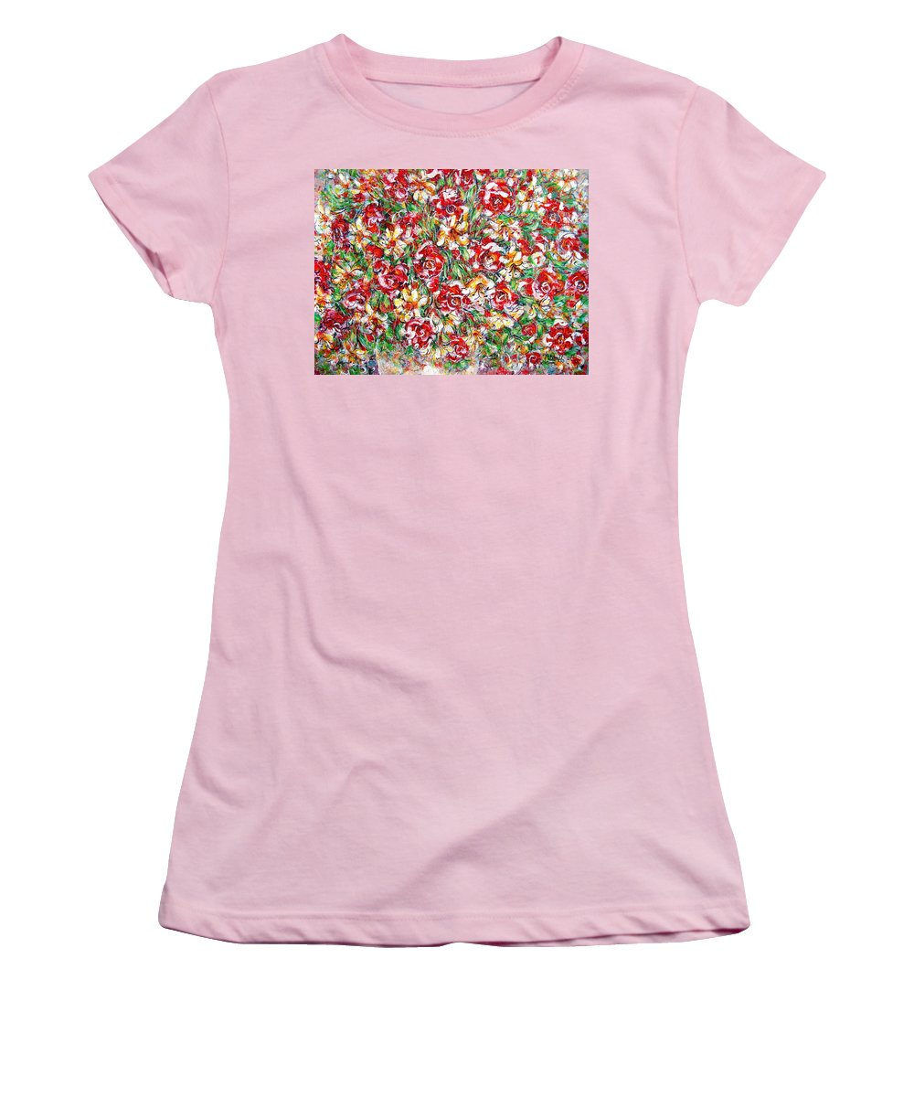 Red Roses Women's T-Shirt (Athletic Fit) featuring the painting Roses For You by Natalie Holland