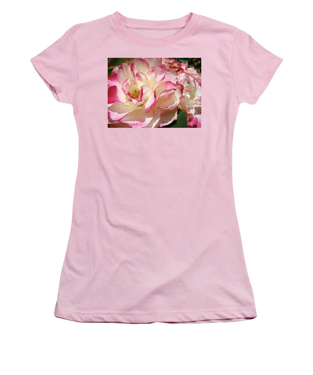 Rose Women's T-Shirt (Athletic Fit) featuring the photograph Roses Pink White Rose Flowers 4 Rose Garden Artwork Baslee Troutman by Baslee Troutman