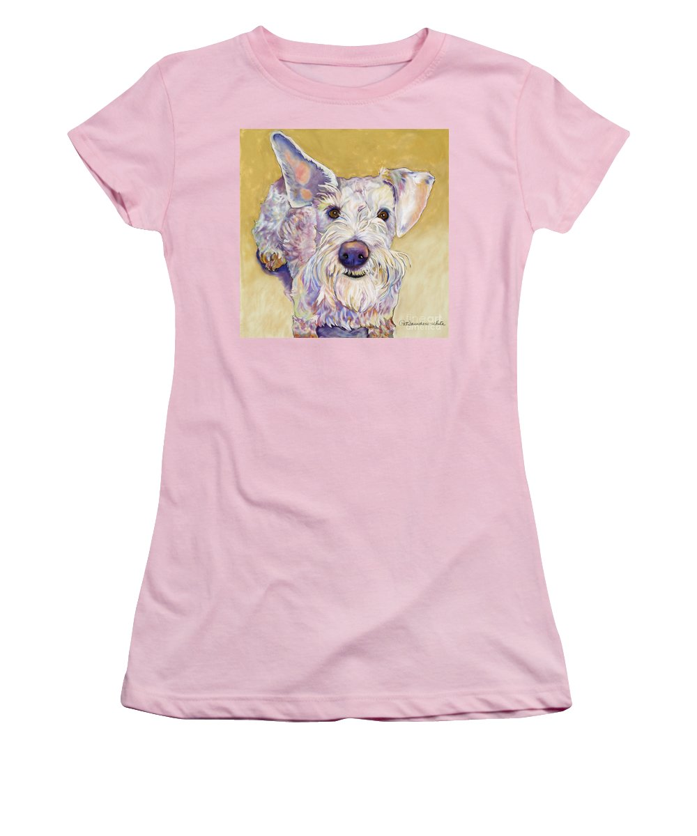 Schnauzer Women's T-Shirt (Athletic Fit) featuring the pastel Scooter by Pat Saunders-White
