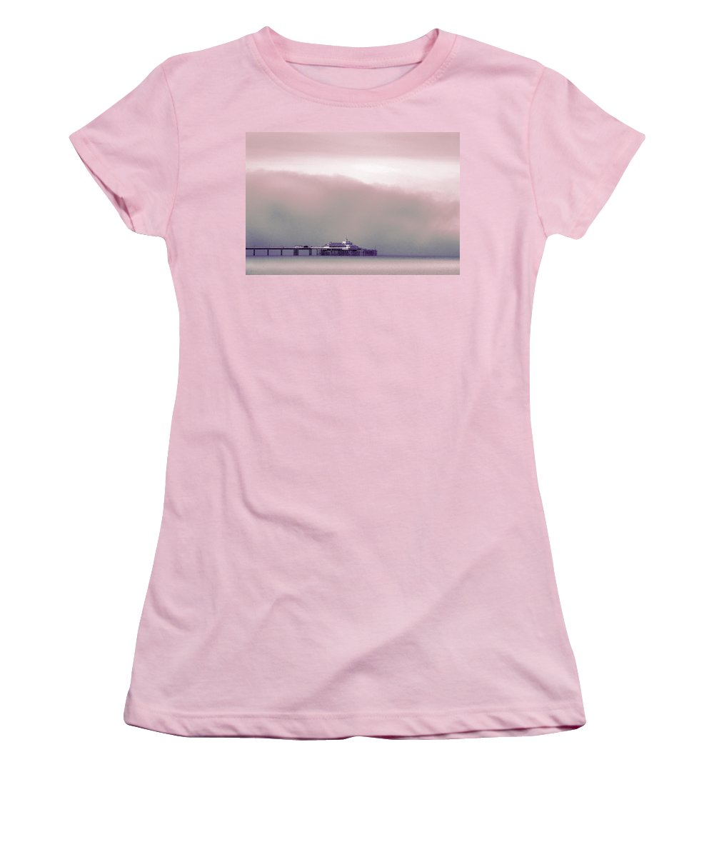 Pier Women's T-Shirt (Athletic Fit) featuring the photograph Sea Mist Replaces The Great Orme As The Backdrop To Llandudno Pier by Mal Bray