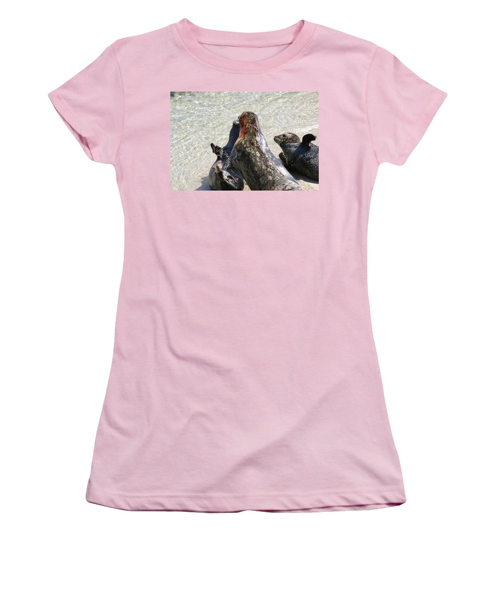 Seals Women's T-Shirt (Athletic Fit) featuring the photograph Seal Fight by Anthony Jones