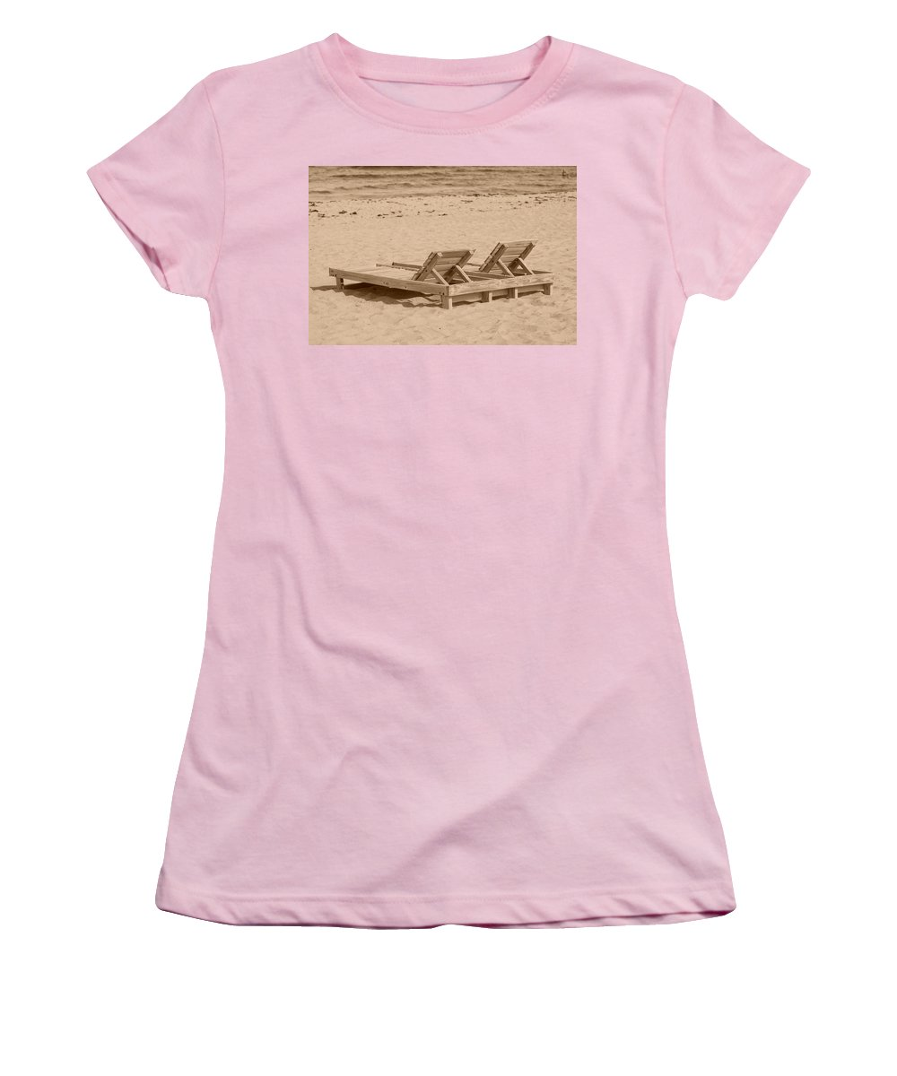 Chez Lounge Women's T-Shirt (Athletic Fit) featuring the photograph Sepia Chairs by Rob Hans