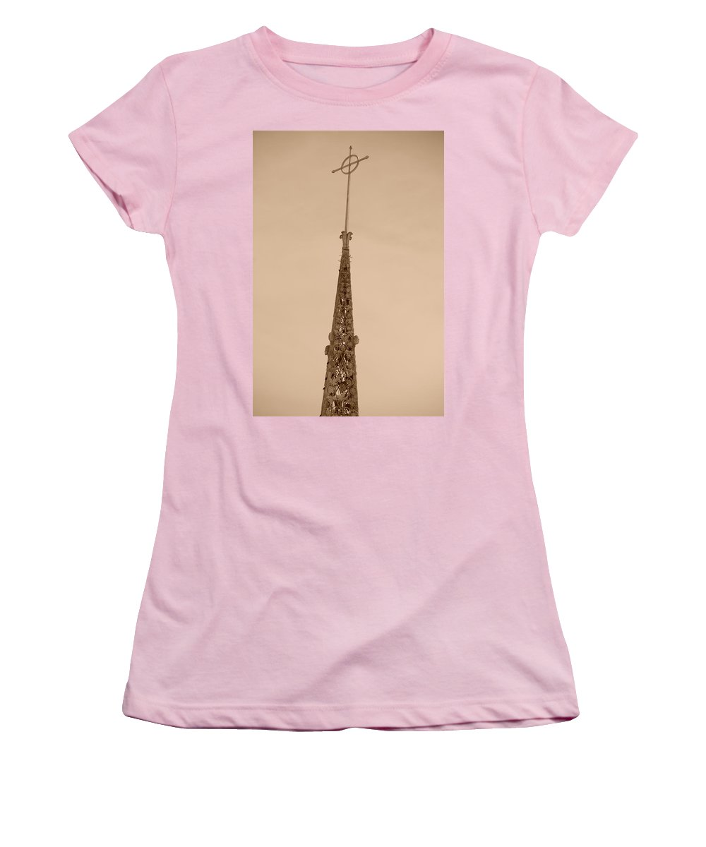 Sepia Women's T-Shirt (Athletic Fit) featuring the photograph Sepia Spire by Rob Hans