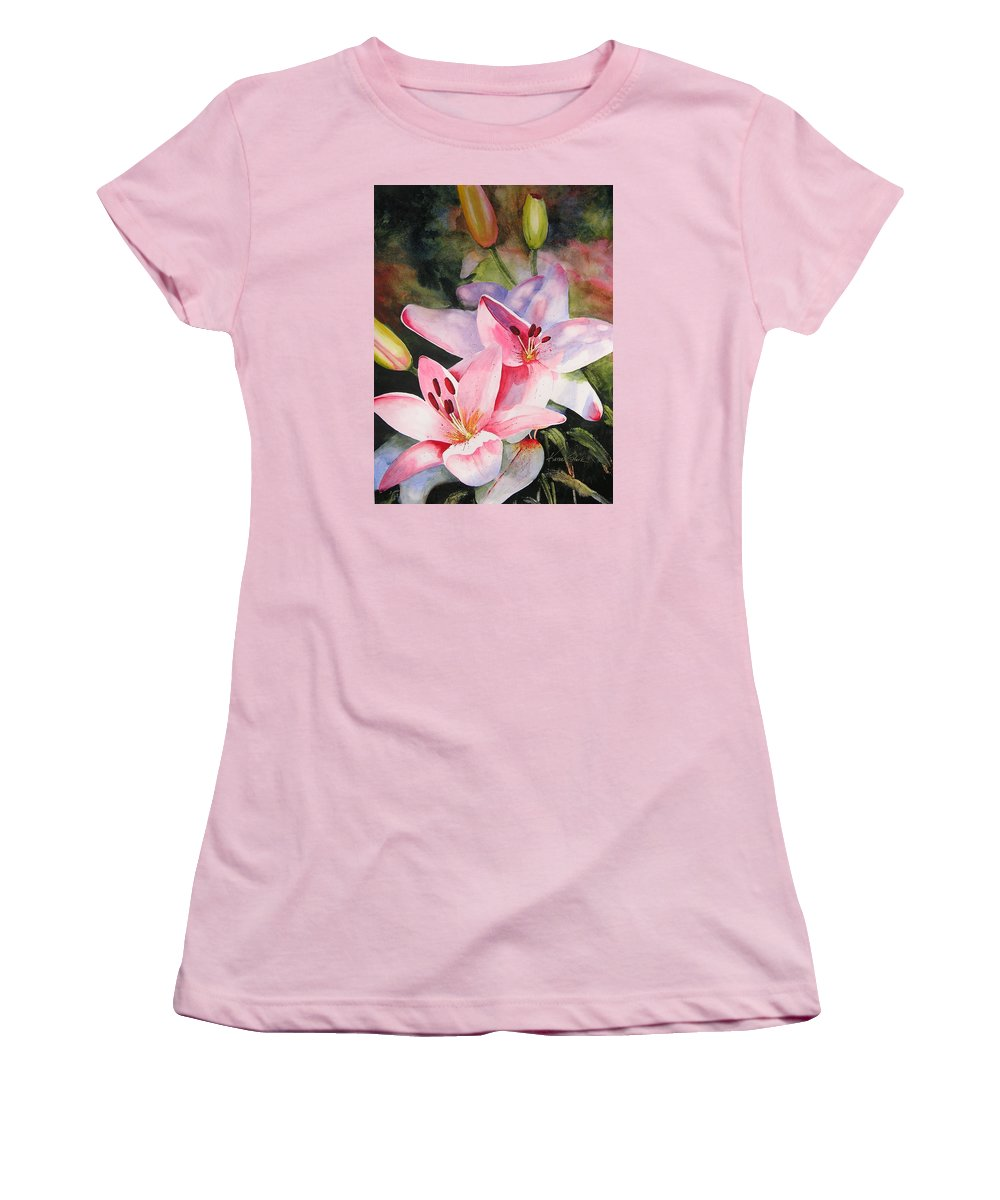 Lilies Women's T-Shirt (Athletic Fit) featuring the painting Shady Ladies by Karen Stark
