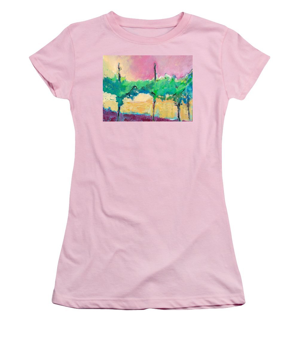 Vineyard Women's T-Shirt (Athletic Fit) featuring the painting Simpatico by Kurt Hausmann