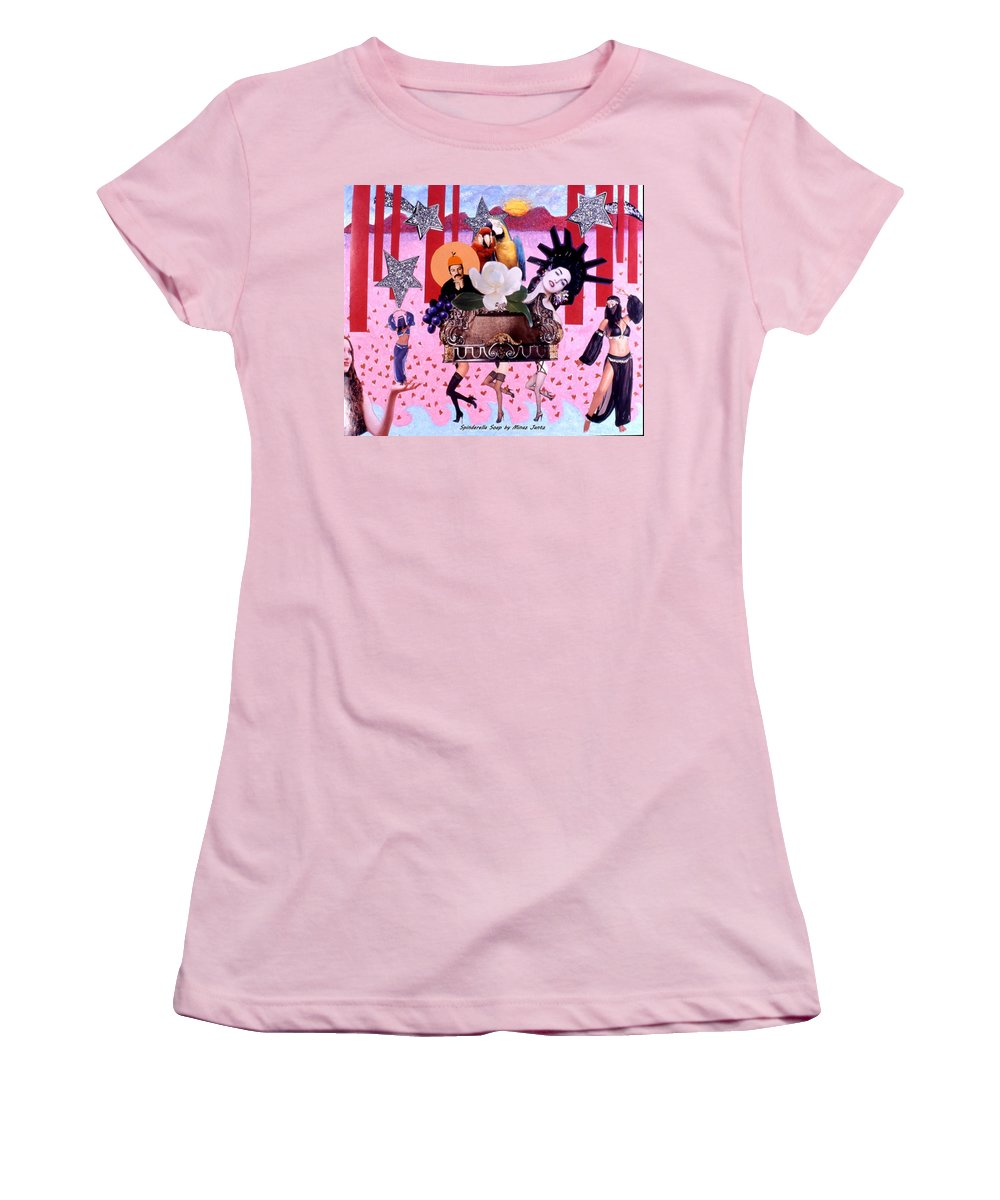Collage Women's T-Shirt (Athletic Fit) featuring the drawing Soap Scene # 28 You Have Seen That Movie Too by Minaz Jantz