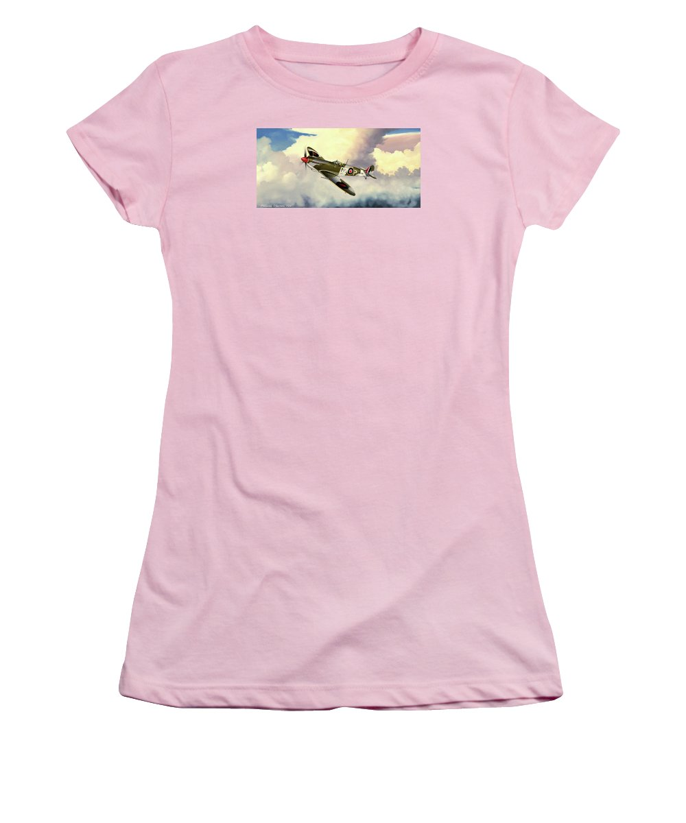 Military Women's T-Shirt (Athletic Fit) featuring the painting Spitfire by Marc Stewart
